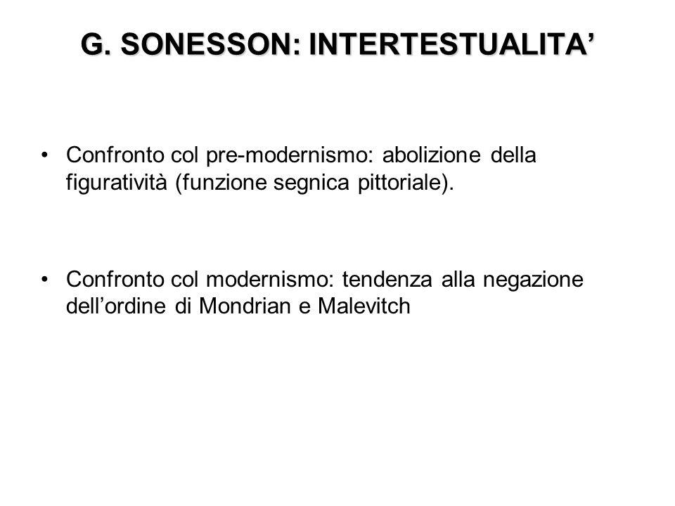 G. SONESSON: INTERTESTUALITA Confronto col pre-modernismo: abolizione della figuratività (funzione segnica pittoriale). Confronto col modernismo: tend