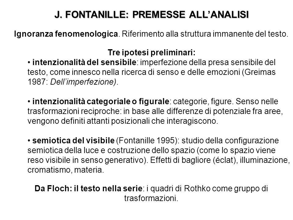 J. FONTANILLE: PREMESSE ALLANALISI Ignoranza fenomenologica. Riferimento alla struttura immanente del testo. Tre ipotesi preliminari: intenzionalità d