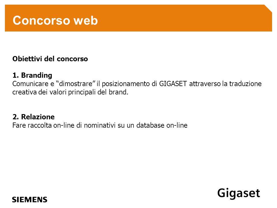 Concorso web Obiettivi del concorso 1. Branding Comunicare e dimostrare il posizionamento di GIGASET attraverso la traduzione creativa dei valori prin