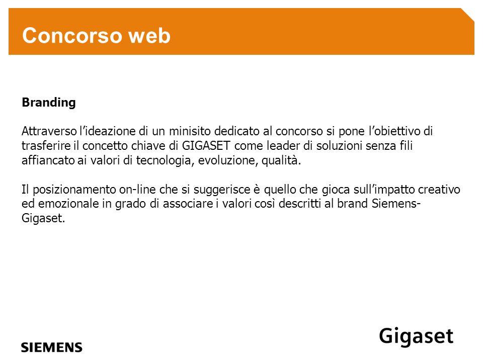 Concorso web Branding Attraverso lideazione di un minisito dedicato al concorso si pone lobiettivo di trasferire il concetto chiave di GIGASET come le