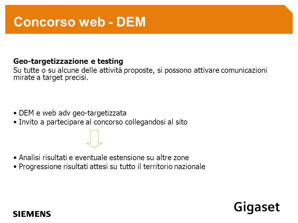 Concorso web - DEM Geo-targetizzazione e testing Su tutte o su alcune delle attività proposte, si possono attivare comunicazioni mirate a target preci