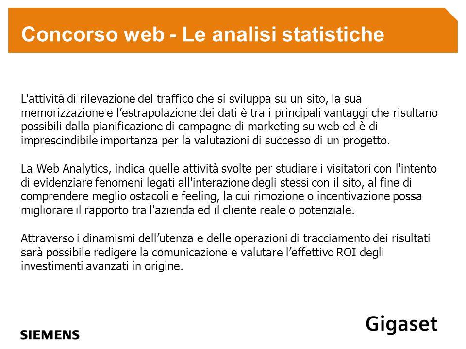 Concorso web - Le analisi statistiche L'attività di rilevazione del traffico che si sviluppa su un sito, la sua memorizzazione e lestrapolazione dei d