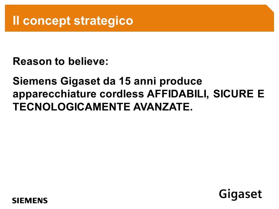 Il concept strategico Reason to believe: Siemens Gigaset da 15 anni produce apparecchiature cordless AFFIDABILI, SICURE E TECNOLOGICAMENTE AVANZATE.