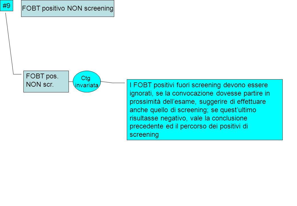 Ctg invariata #9 FOBT positivo NON screening FOBT pos. NON scr. I FOBT positivi fuori screening devono essere ignorati, se la convocazione dovesse par