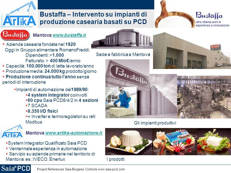 Project References Saia-Burgess Controls www.saia-pcd.com Bustaffa – Intervento su impianti di produzione casearia basati su PCD I prodotti Sede e fab