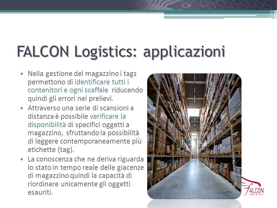 FALCON Logistics: applicazioni Nella gestione del magazzino i tags permettono di identificare tutti i contenitori e ogni scaffale riducendo quindi gli