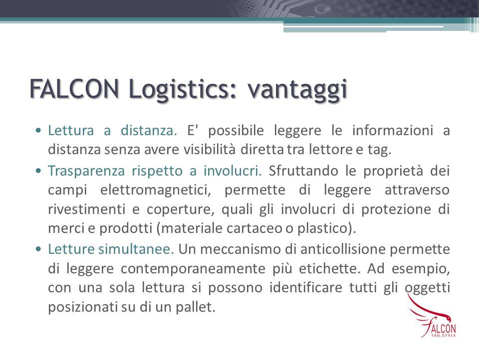 FALCON Logistics: vantaggi Lettura a distanza. E' possibile leggere le informazioni a distanza senza avere visibilità diretta tra lettore e tag. Trasp