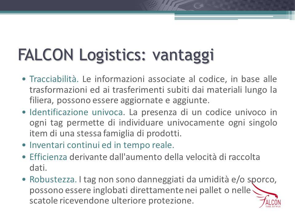 FALCON Logistics: vantaggi Tracciabilità. Le informazioni associate al codice, in base alle trasformazioni ed ai trasferimenti subiti dai materiali lu