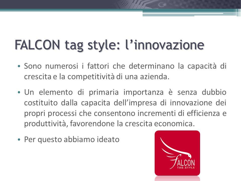 FALCON tag style: la famiglia FALCON Fashion AT Antitaccheggio TR Tracciabilità FALCON Logistics TR Tracciabilità FALCON Textile TR Tracciabilità