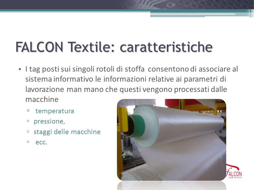 FALCON Textile: caratteristiche I tag posti sui singoli rotoli di stoffa consentono di associare al sistema informativo le informazioni relative ai pa