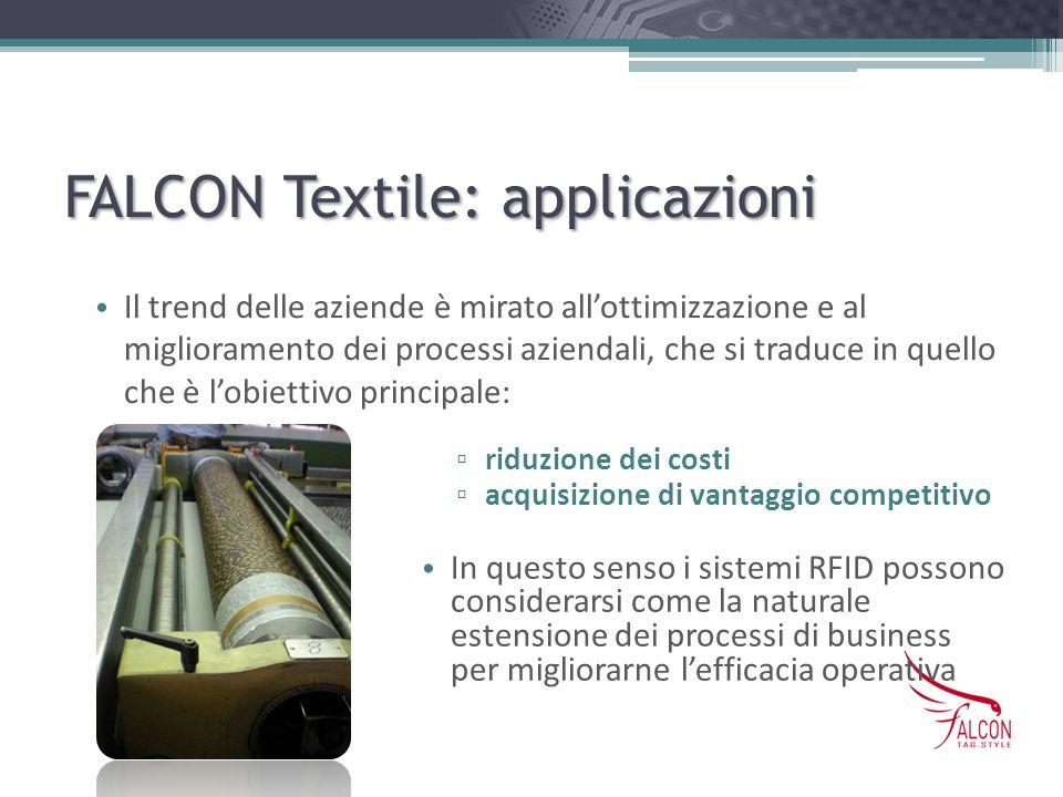 FALCON Textile: applicazioni riduzione dei costi acquisizione di vantaggio competitivo In questo senso i sistemi RFID possono considerarsi come la nat