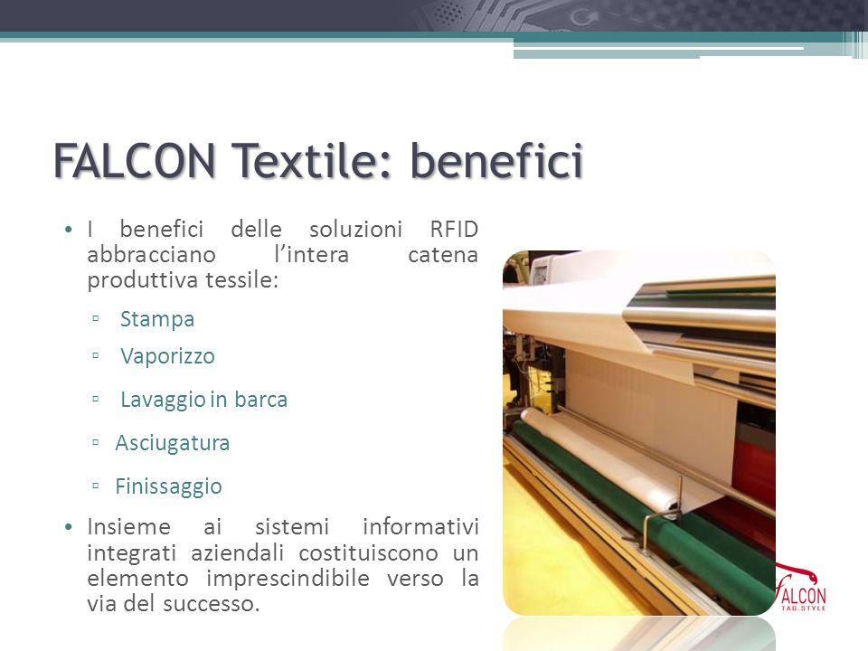 FALCON Textile: benefici I benefici delle soluzioni RFID abbracciano lintera catena produttiva tessile: Stampa Vaporizzo Lavaggio in barca Asciugatura