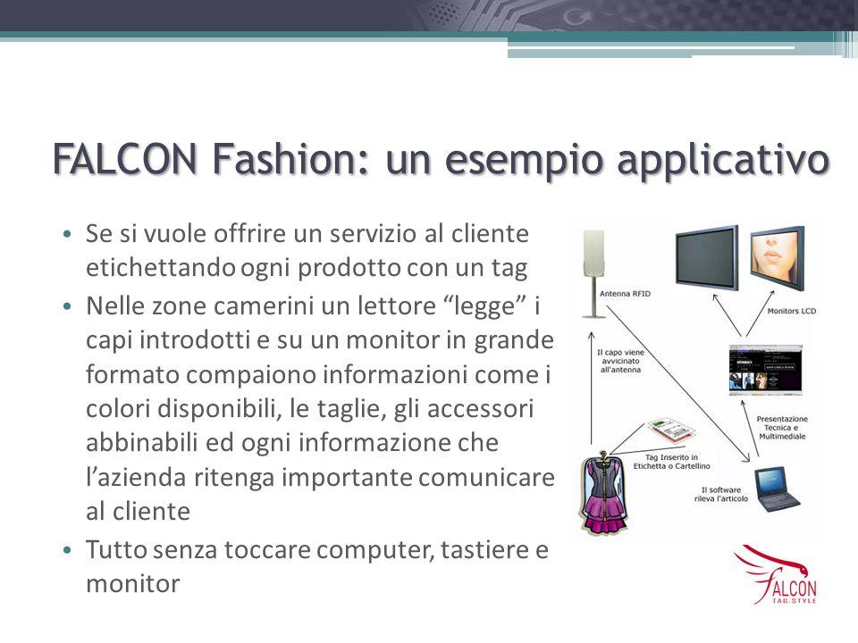 FALCON Fashion: un esempio applicativo Se si vuole offrire un servizio al cliente etichettando ogni prodotto con un tag Nelle zone camerini un lettore