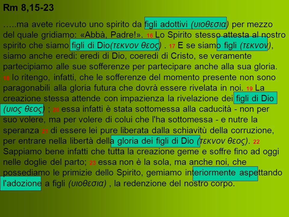 Rm 8,15-23 …..ma avete ricevuto uno spirito da figli adottivi (υιοθεσια) per mezzo del quale gridiamo: «Abbà, Padre!». 16 Lo Spirito stesso attesta al