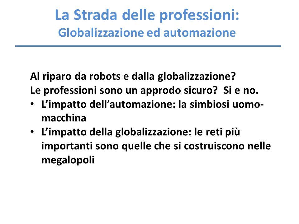 La Strada delle professioni: Globalizzazione ed automazione Al riparo da robots e dalla globalizzazione? Le professioni sono un approdo sicuro? Si e n
