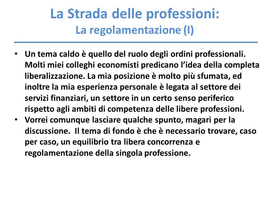 La Strada delle professioni: La regolamentazione (I) Un tema caldo è quello del ruolo degli ordini professionali. Molti miei colleghi economisti predi