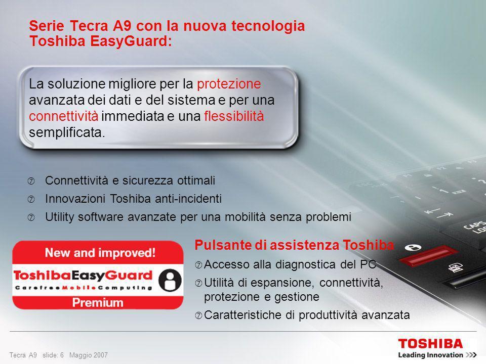 Tecra A9 slide: 6 Maggio 2007 Serie Tecra A9 con la nuova tecnologia Toshiba EasyGuard: La soluzione migliore per la protezione avanzata dei dati e del sistema e per una connettività immediata e una flessibilità semplificata.