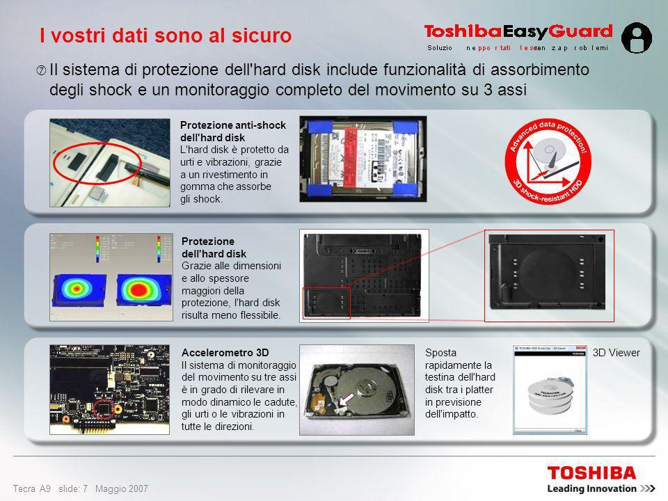 Tecra A9 slide: 27 Maggio 2007 Design e facilità di utilizzo Collegamento e scollegamento rapido Potete lasciare i cavi del desktop collegati alla Express Port Replicator opzionale Massima flessibilità e molteplici opzioni di personalizzazione Doppio sistema di puntamento Toshiba con AccuPoint II e TouchPad