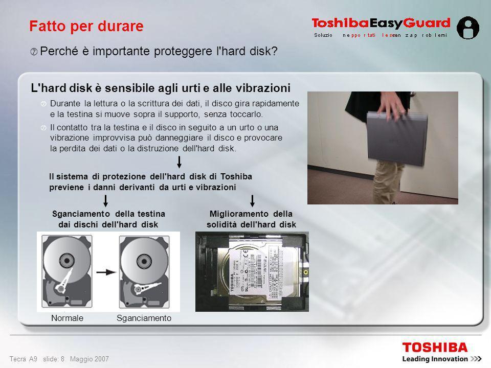 Tecra A9 slide: 28 Maggio 2007 Design e facilità di utilizzo Slot per PC Card per 1 scheda tipo II Porta USB 2.0 Porta LAN Gigabit Ethernet 10/100/1000 LAN wireless (802.11a/b/g/Draft-N) Bluetooth ® 2.0 con EDR (Enhanced Data Rate) Monitor esterno (RGB) Modem V.90 internazionale (predisposto per V.92) Cuffie (stereo) e ingresso microfono Porta seriale 2 porte USB 2.0 Slot per supporto media 5-in1