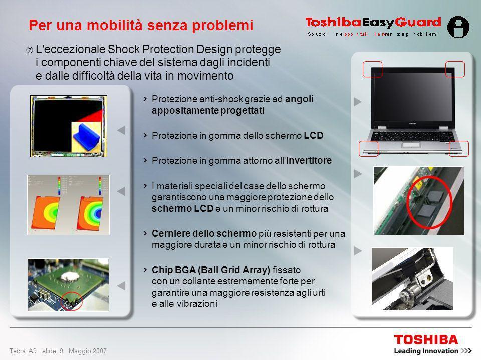Tecra A9 slide: 29 Maggio 2007 Opzioni e servizi Riparazione sul posto Express Port Replicator Custodia Advanced Business PX1398E-3G20Hard disk esterno da 200 GB, 2,5, USB 2.0, argento PA3091E-2CHGCaricabatteria con supporto per 2 batterie PA3508E-1PRPExpress Port Replicator PX1274E-1G50Hard disk esterno 3,5 da 500 GB (cavo EU + cavo CH) Postazione desktop Contattare il rivenditore Riparazione sul posto, servizio di risposta e uplift il giorno lavorativo successivo Servizi PX1326E-1NACMouse laser RF PX1257E-1DACTastierino numerico PA3553E-1LC2Schermo TekBright widescreen da 22 (VGA + DVI) Connettività PA3109E-3FDDUSB FDD esterno – 1,44 MB Unità PA3513S-1M2GMemoria da 2 GB PC2 DDR2 (667 MHz) Espansioni PA3378E-3AC3Adattatore CA PA3357U-3BRLBatteria ad alta capacità Alimentazione Numero PAOpzioni e servizi di base della serie Tecra A9