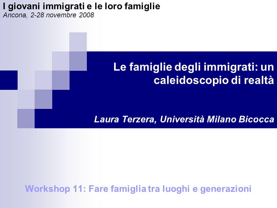 Le famiglie degli immigrati: un caleidoscopio di realtà Laura Terzera, Università Milano Bicocca Workshop 11: Fare famiglia tra luoghi e generazioni I giovani immigrati e le loro famiglie Ancona, 2-28 novembre 2008