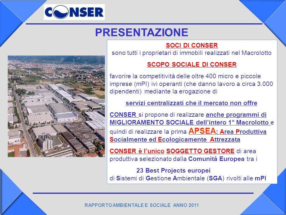 RAPPORTO AMBIENTALE E SOCIALE ANNO 2011 OBIETTIVI …….