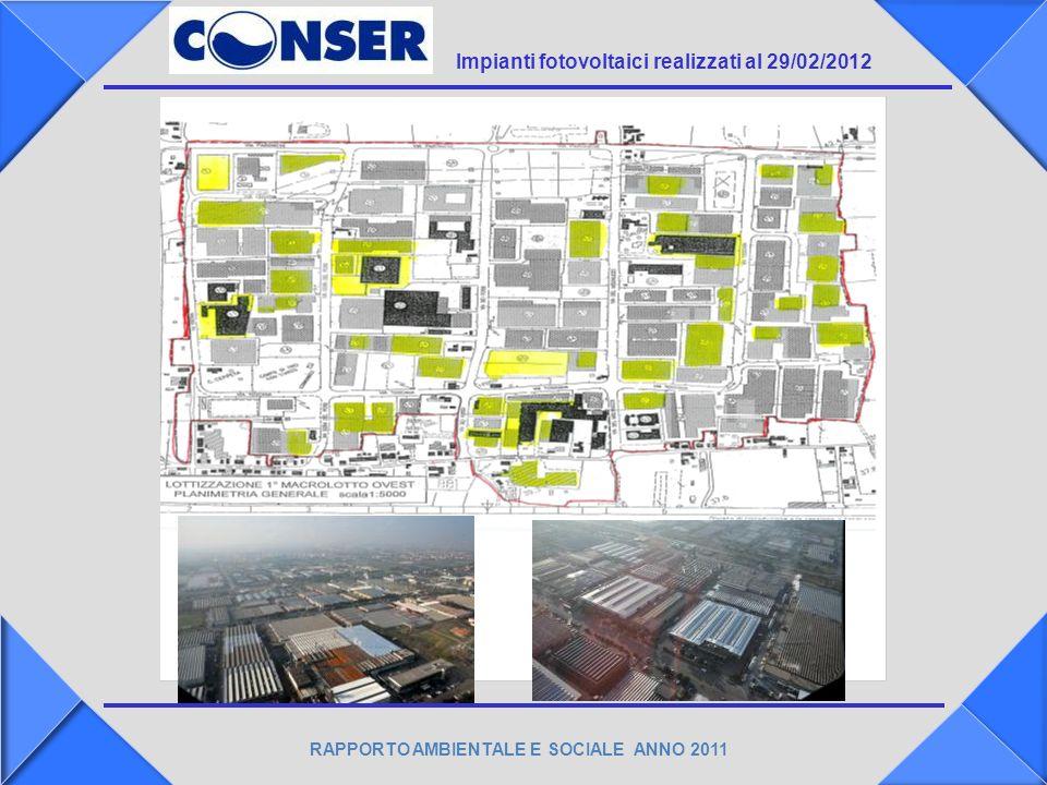 RAPPORTO AMBIENTALE E SOCIALE ANNO 2011 Impianti fotovoltaici realizzati al 29/02/2012