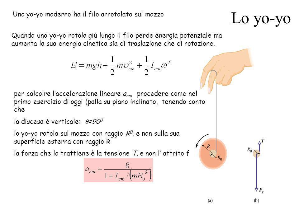 Lo yo-yo Quando uno yo-yo rotola giù lungo il filo perde energia potenziale ma aumenta la sua energia cinetica sia di traslazione che di rotazione. Un