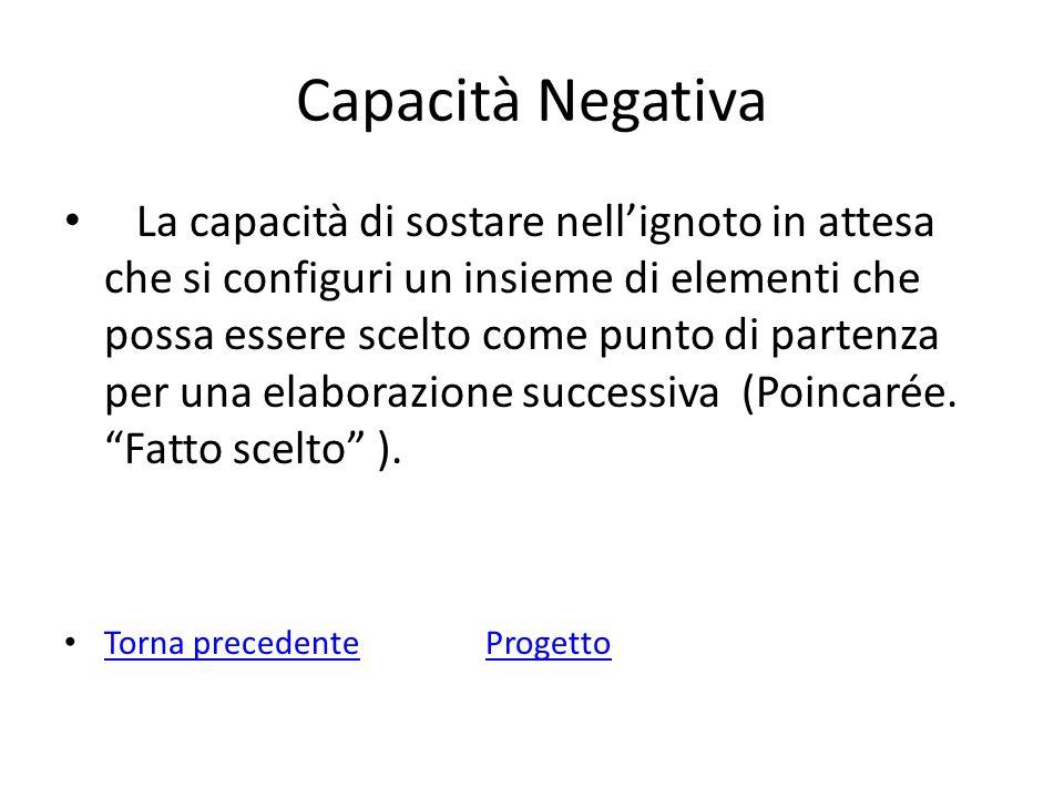 Capacità Negativa La capacità di sostare nellignoto in attesa che si configuri un insieme di elementi che possa essere scelto come punto di partenza p