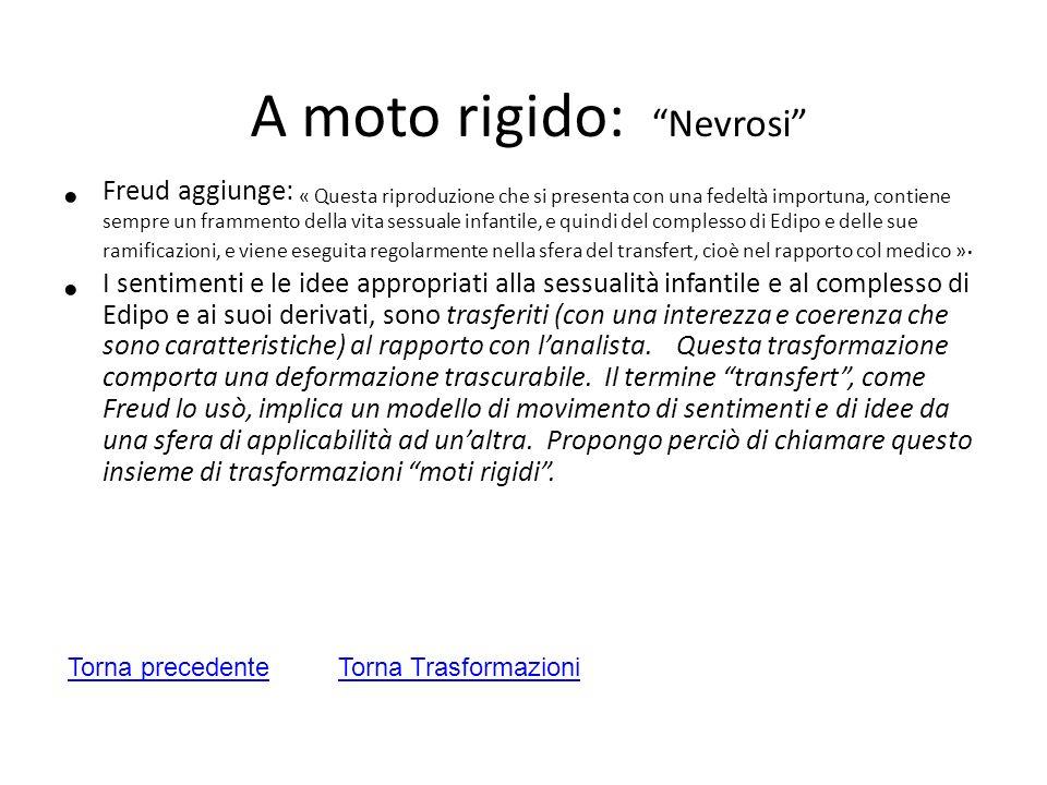 A moto rigido: Nevrosi Freud aggiunge: « Questa riproduzione che si presenta con una fedeltà importuna, contiene sempre un frammento della vita sessua