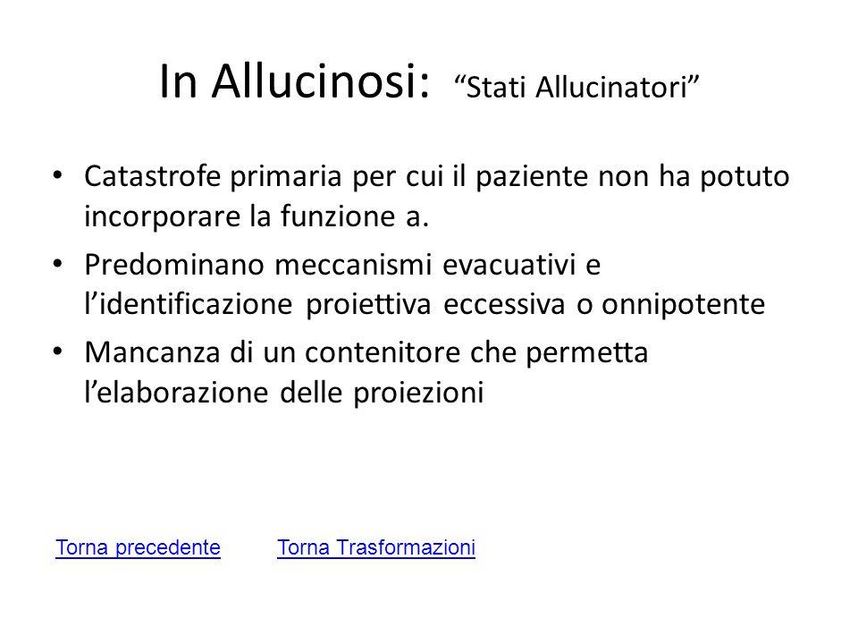 In Allucinosi: Stati Allucinatori Catastrofe primaria per cui il paziente non ha potuto incorporare la funzione a. Predominano meccanismi evacuativi e