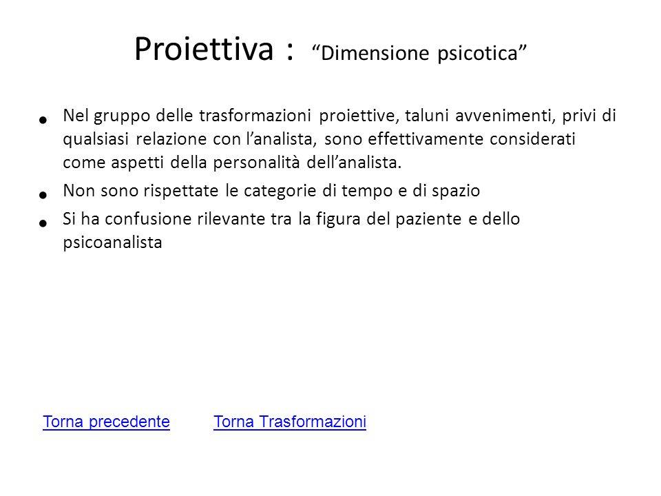 Proiettiva : Dimensione psicotica Nel gruppo delle trasformazioni proiettive, taluni avvenimenti, privi di qualsiasi relazione con lanalista, sono eff