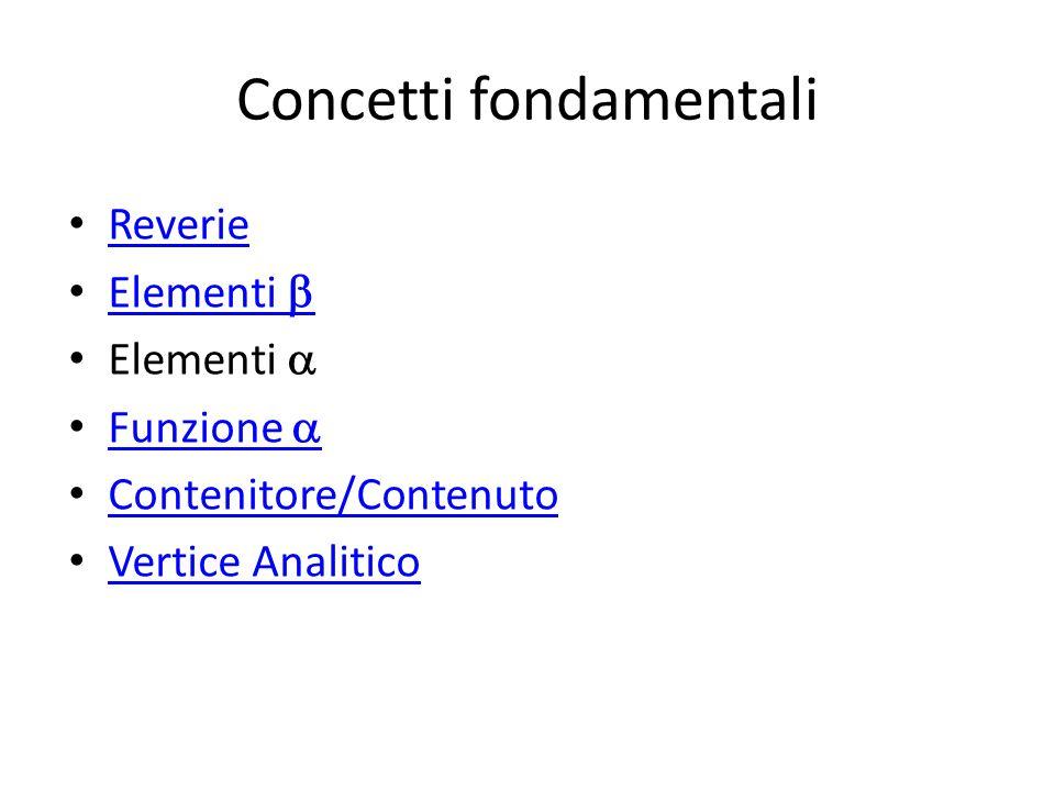 Concetti fondamentali Reverie Elementi Elementi Funzione Contenitore/Contenuto Vertice Analitico