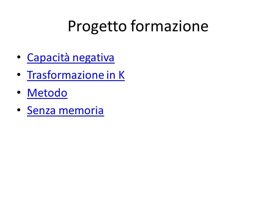 Progetto formazione Capacità negativa Trasformazione in K Metodo Senza memoria