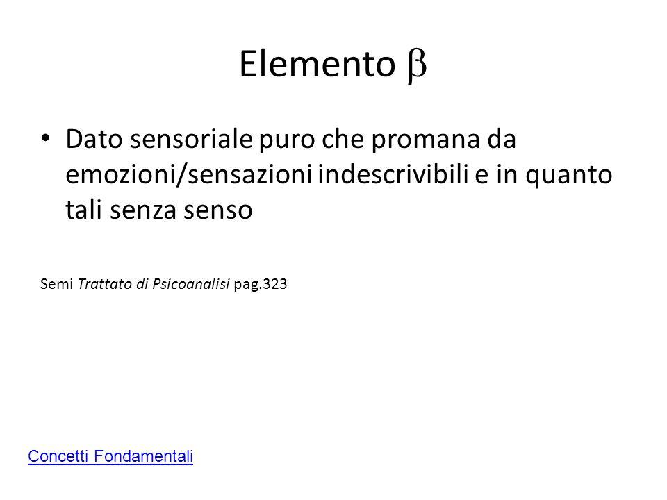 Elemento Dato sensoriale puro che promana da emozioni/sensazioni indescrivibili e in quanto tali senza senso Semi Trattato di Psicoanalisi pag.323 Con