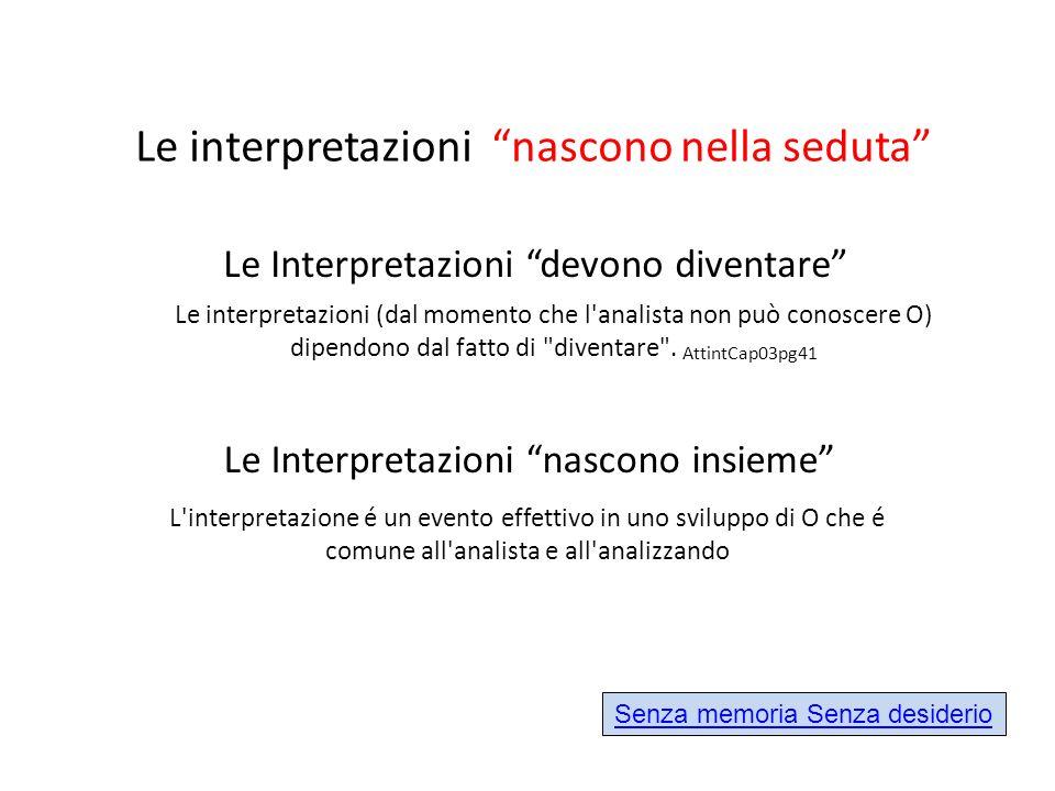 Le interpretazioni (dal momento che l'analista non può conoscere O) dipendono dal fatto di