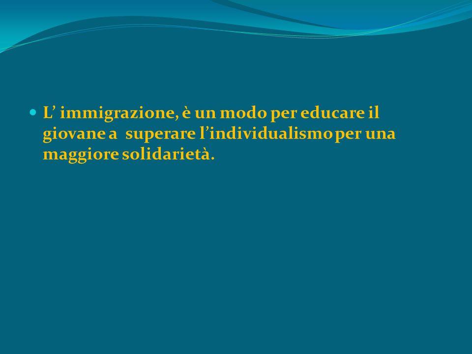 L immigrazione, è un modo per educare il giovane a superare lindividualismo per una maggiore solidarietà.