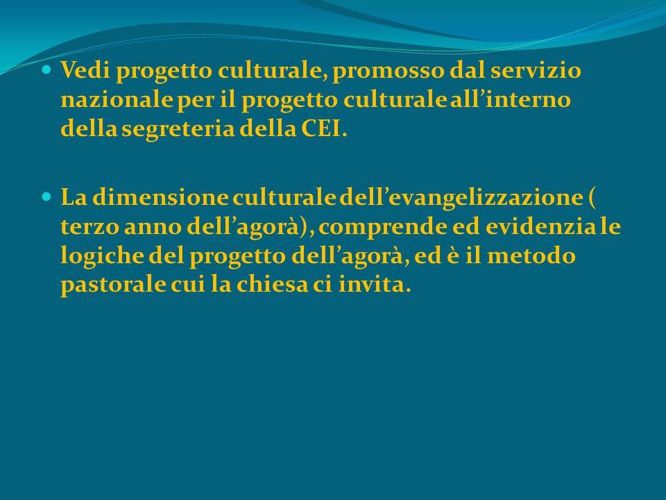 Vedi progetto culturale, promosso dal servizio nazionale per il progetto culturale allinterno della segreteria della CEI. La dimensione culturale dell