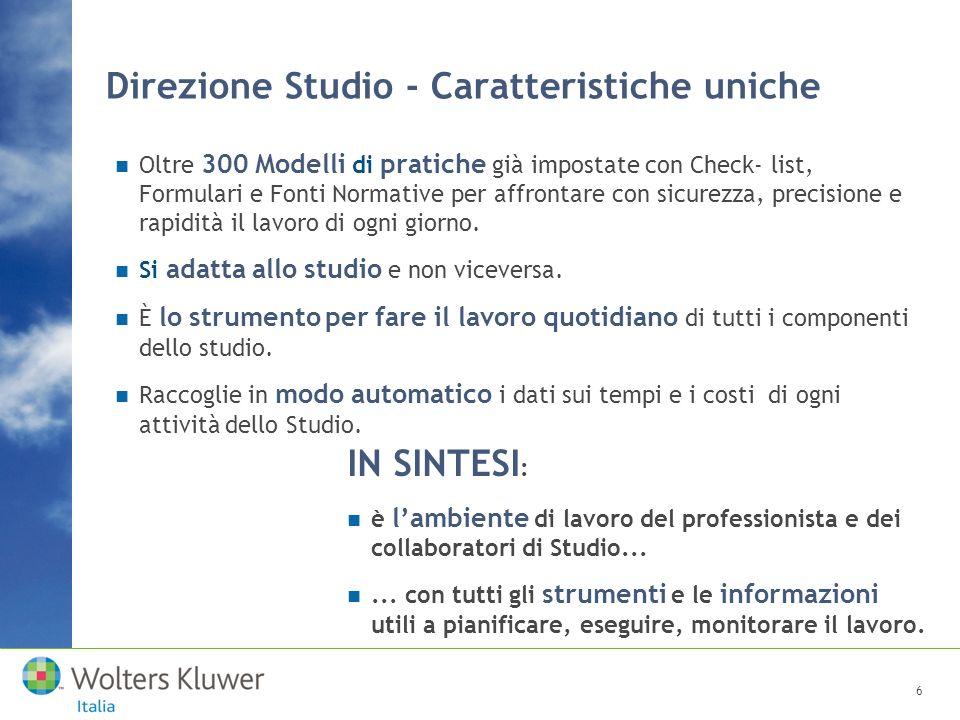 Direzione Studio - Caratteristiche uniche Oltre 300 Modelli di pratiche già impostate con Check- list, Formulari e Fonti Normative per affrontare con