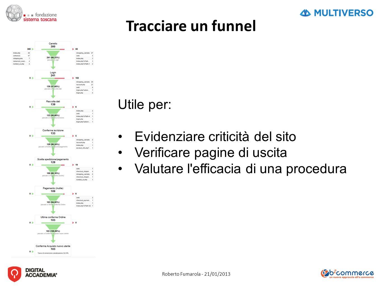 Roberto Fumarola - 21/01/2013 Tracciare un funnel Utile per: Evidenziare criticità del sito Verificare pagine di uscita Valutare l efficacia di una procedura