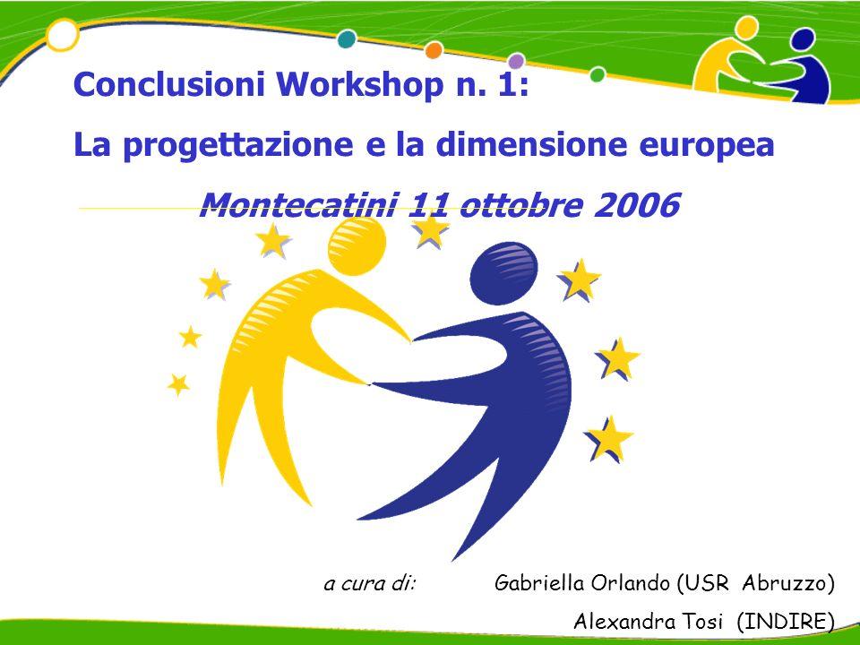 Conclusioni Workshop n. 1: La progettazione e la dimensione europea Montecatini 11 ottobre 2006 a cura di:Gabriella Orlando (USR Abruzzo) Alexandra To