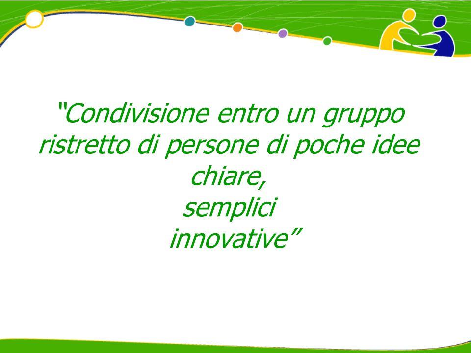 Condivisione entro un gruppo ristretto di persone di poche idee chiare, semplici innovative
