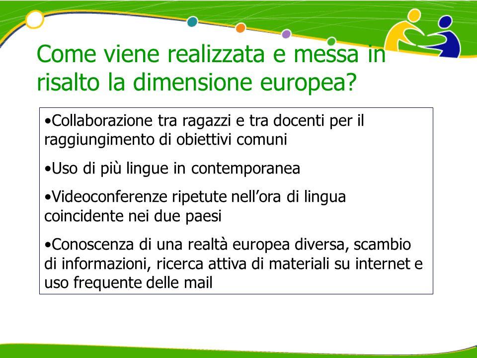 Come viene realizzata e messa in risalto la dimensione europea? Collaborazione tra ragazzi e tra docenti per il raggiungimento di obiettivi comuni Uso