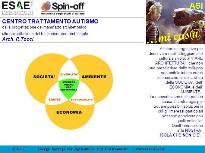 E S A E Energy Savings for Agriculture and Environment - www.esaesrl.com …mi cas@ ASI CENTRO TRATTAMENTO AUTISMO dalla progettazione del manufatto arc
