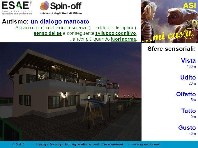 E S A E Energy Savings for Agriculture and Environment - www.esaesrl.com …mi cas@ ASI Sfere sensoriali: Vista 100m Udito 20m Olfatto 5m Tatto 0m Gusto