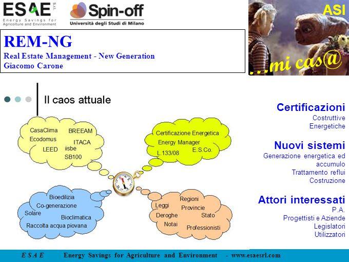 E S A E Energy Savings for Agriculture and Environment - www.esaesrl.com …mi cas@ ASI REM-NG Real Estate Management - New Generation Giacomo Carone Ce