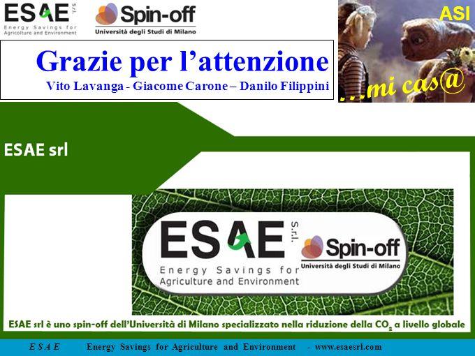E S A E Energy Savings for Agriculture and Environment - www.esaesrl.com …mi cas@ ASI Grazie per lattenzione Vito Lavanga - Giacome Carone – Danilo Fi