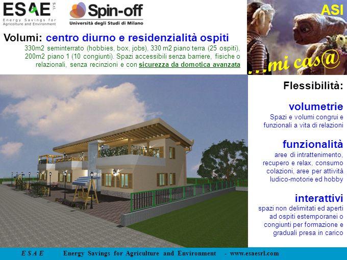 E S A E Energy Savings for Agriculture and Environment - www.esaesrl.com …mi cas@ ASI Flessibilità: volumetrie Spazi e volumi congrui e funzionali a v