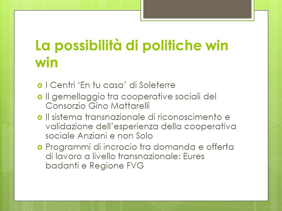 La possibilità di politiche win win I Centri En tu casa di Soleterre Il gemellaggio tra cooperative sociali del Consorzio Gino Mattarelli Il sistema t