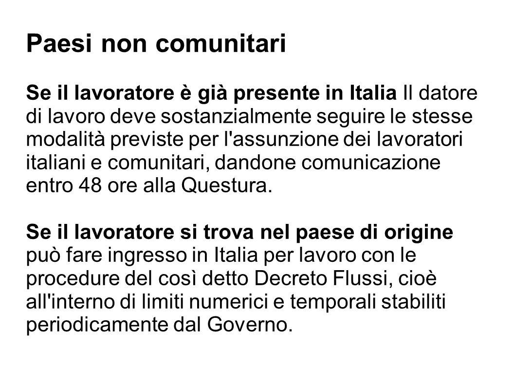 Paesi non comunitari Se il lavoratore è già presente in Italia Il datore di lavoro deve sostanzialmente seguire le stesse modalità previste per l'assu